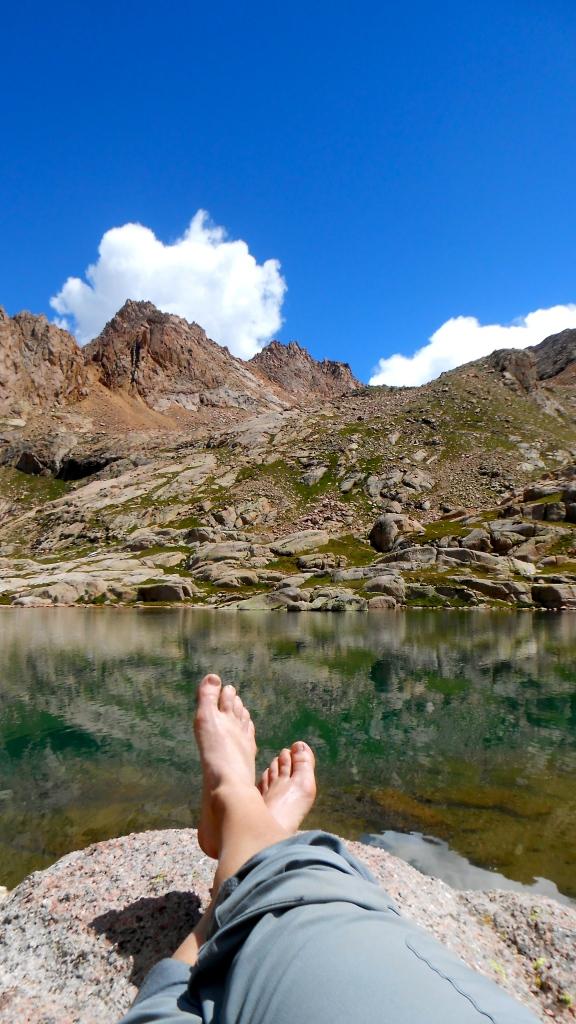 Relaxing after my climb, enjoying the beautiful weather.
