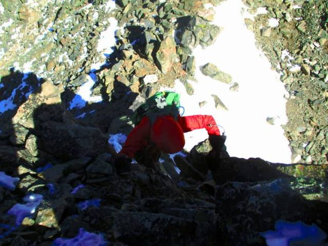"""Sylwia captured this awesome picture of me scrambling up to the summit of """"Drift."""""""
