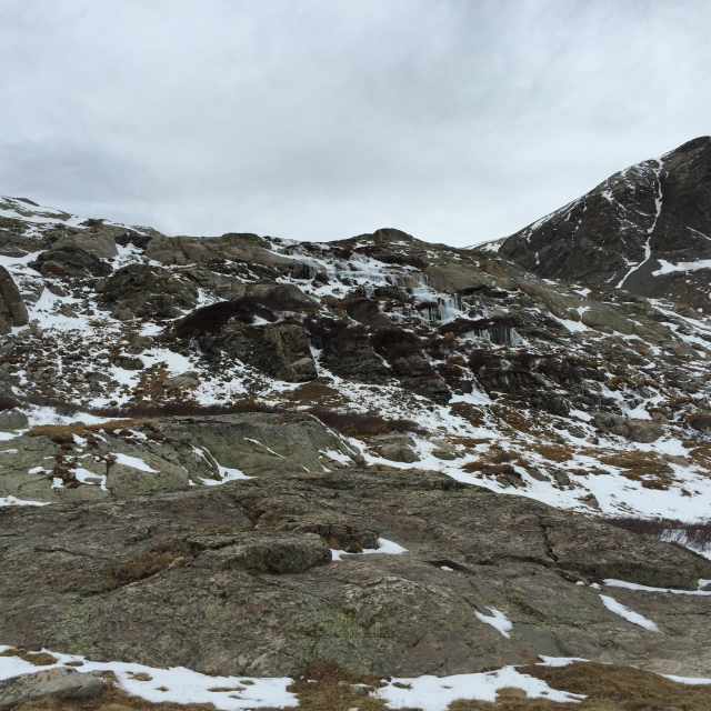 This doesn't look all that intimidating- but it was sheer ice, and deep snow pockets. Slow moving.