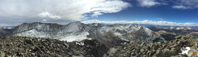 From the summit of Traver, Looking at Democrat, Cameron, Lincoln, and a small corner of Bross.