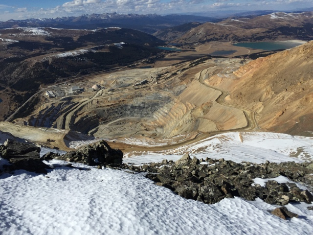 Standing on Mcnamee, looking down at the Climax Mine.