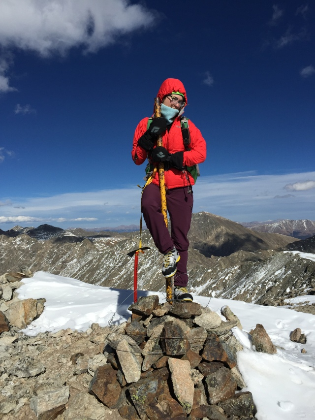 Pole dancing on the summit of Clinton Peak 13,857' and #28.